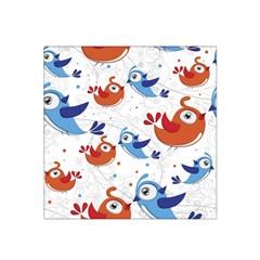 Birds Patterns Blue Orange  Satin Bandana Scarf by amphoto
