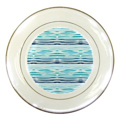 Watercolor Blue Abstract Summer Pattern Porcelain Plates by TastefulDesigns