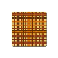 Plaid Pattern Square Magnet by linceazul