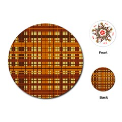Plaid Pattern Playing Cards (round)  by linceazul