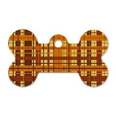 Plaid Pattern Dog Tag Bone (two Sides) by linceazul