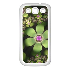 Abstraction Fractal Flowers Greens  Samsung Galaxy S3 Back Case (white) by amphoto