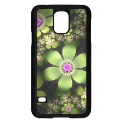 Abstraction Fractal Flowers Greens  Samsung Galaxy S5 Case (black) by amphoto
