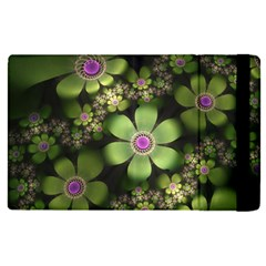 Abstraction Fractal Flowers Greens  Apple Ipad Pro 12 9   Flip Case by amphoto
