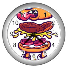 Burger Kill Wall Clocks (silver)  by quirogaart