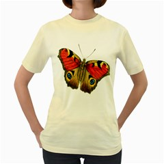 Butterfly Bright Vintage Drawing Women s Yellow T Shirt
