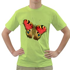 Butterfly Bright Vintage Drawing Green T Shirt