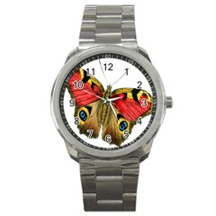 Butterfly Bright Vintage Drawing Sport Metal Watch by Nexatart