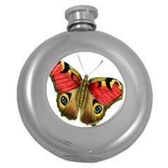 Butterfly Bright Vintage Drawing Round Hip Flask (5 Oz)