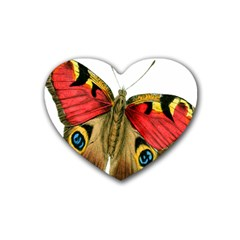 Butterfly Bright Vintage Drawing Heart Coaster (4 Pack)