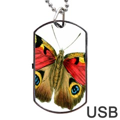 Butterfly Bright Vintage Drawing Dog Tag Usb Flash (two Sides)