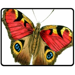 Butterfly Bright Vintage Drawing Double Sided Fleece Blanket (medium)