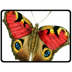 Butterfly Bright Vintage Drawing Double Sided Fleece Blanket (large)