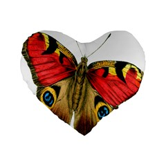 Butterfly Bright Vintage Drawing Standard 16  Premium Flano Heart Shape Cushions by Nexatart