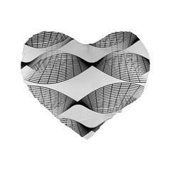 Curves Pattern Black On White Standard 16  Premium Flano Heart Shape Cushions by CrypticFragmentsColors