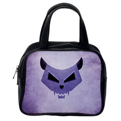 Purple Evil Cat Skull Classic Handbags (one Side) by CreaturesStore