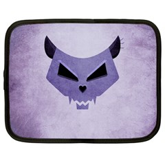 Purple Evil Cat Skull Netbook Case (xl)  by CreaturesStore