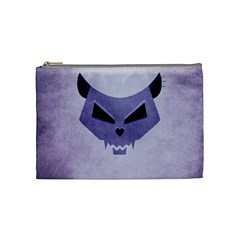 Purple Evil Cat Skull Cosmetic Bag (medium)  by CreaturesStore