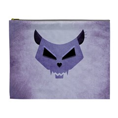 Purple Evil Cat Skull Cosmetic Bag (xl) by CreaturesStore