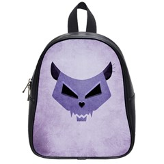 Purple Evil Cat Skull School Bag (small) by CreaturesStore
