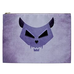 Purple Evil Cat Skull Cosmetic Bag (xxl)  by CreaturesStore