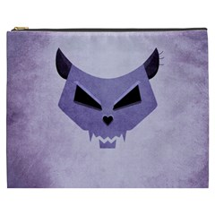 Purple Evil Cat Skull Cosmetic Bag (xxxl)  by CreaturesStore