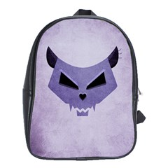 Purple Evil Cat Skull School Bag (xl) by CreaturesStore
