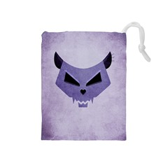 Purple Evil Cat Skull Drawstring Pouches (medium)  by CreaturesStore
