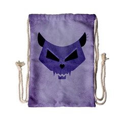 Purple Evil Cat Skull Drawstring Bag (small) by CreaturesStore