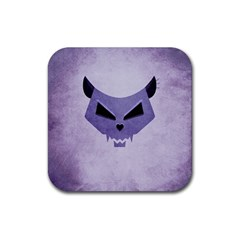 Purple Evil Cat Skull Rubber Square Coaster (4 Pack)  by CreaturesStore