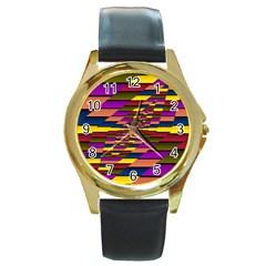 Autumn Check Round Gold Metal Watch