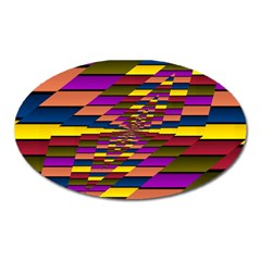 Autumn Check Oval Magnet by designworld65