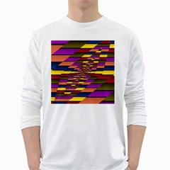 Autumn Check White Long Sleeve T Shirts by designworld65