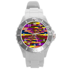 Autumn Check Round Plastic Sport Watch (l) by designworld65