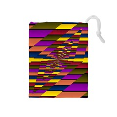 Autumn Check Drawstring Pouches (medium)  by designworld65