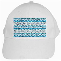 Baby Blue Chevron Grunge White Cap by designworld65