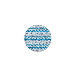 Baby Blue Chevron Grunge 1  Mini Magnets by designworld65