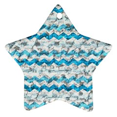 Baby Blue Chevron Grunge Ornament (star)