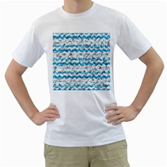 Baby Blue Chevron Grunge Men s T Shirt (white) (two Sided)