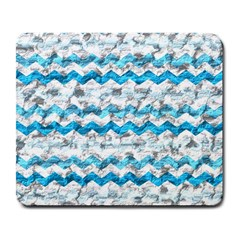 Baby Blue Chevron Grunge Large Mousepads