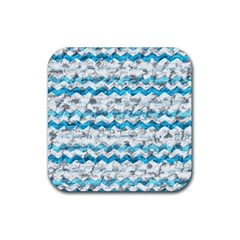Baby Blue Chevron Grunge Rubber Coaster (square)  by designworld65