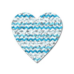 Baby Blue Chevron Grunge Heart Magnet by designworld65