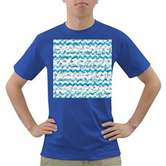 Baby Blue Chevron Grunge Dark T Shirt