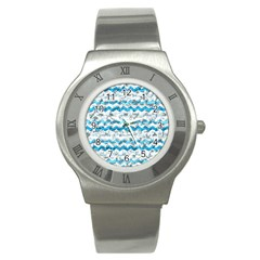 Baby Blue Chevron Grunge Stainless Steel Watch by designworld65
