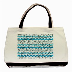Baby Blue Chevron Grunge Basic Tote Bag