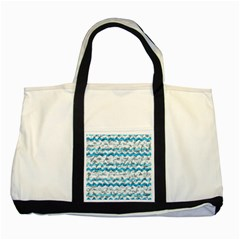 Baby Blue Chevron Grunge Two Tone Tote Bag by designworld65