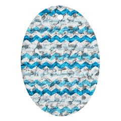 Baby Blue Chevron Grunge Oval Ornament (two Sides) by designworld65