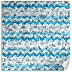 Baby Blue Chevron Grunge Canvas 12  X 12   by designworld65