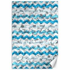 Baby Blue Chevron Grunge Canvas 12  X 18   by designworld65