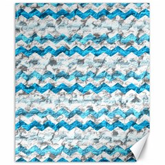 Baby Blue Chevron Grunge Canvas 20  X 24   by designworld65